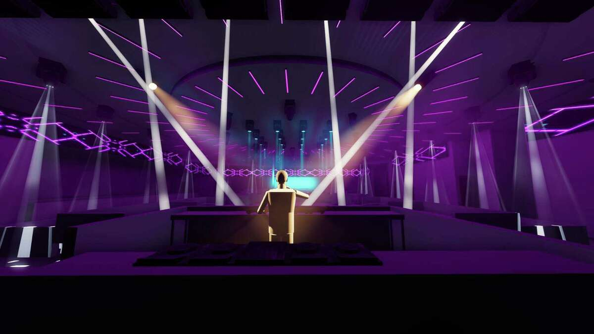 Rendering of Sekai Day and Night, a new nightclub opening in EaDo in fall 2021 from Houston-based Sekai Hospitality.