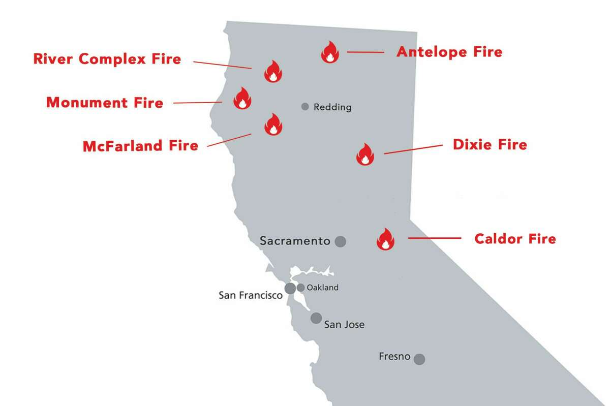 Existing wildfires exploded and new ones started in Northern California Wednesday amid bone dry weather and high winds.