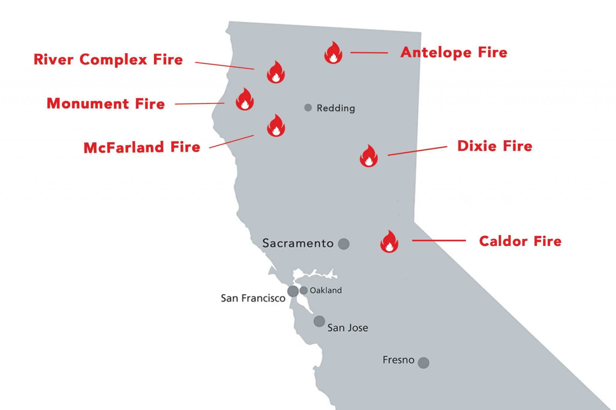 Satellite imagery shows massive smoke plumes rising above California