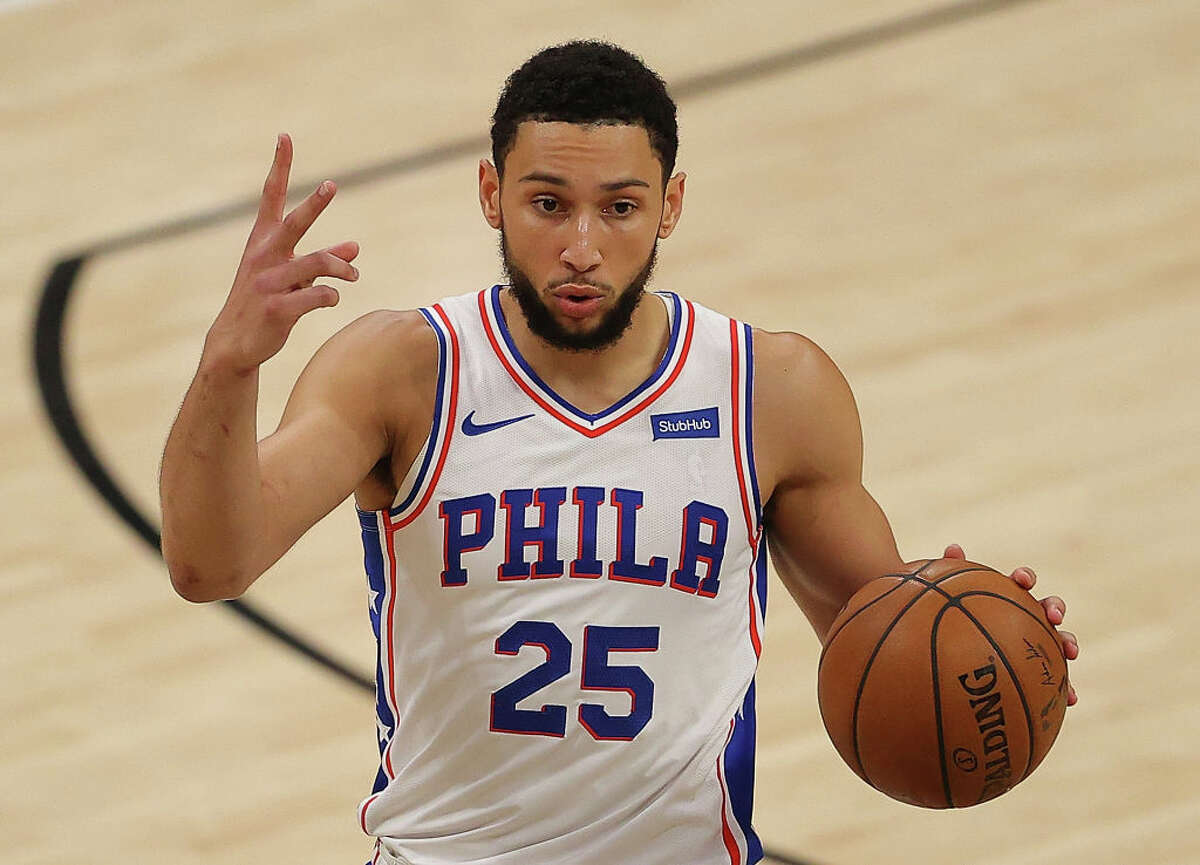 Ben Simmons of the Philadelphia 76ers calls out a play against the Atlanta Hawks during the first half of game 6 of the Eastern Conference Semifinals at State Farm Arena