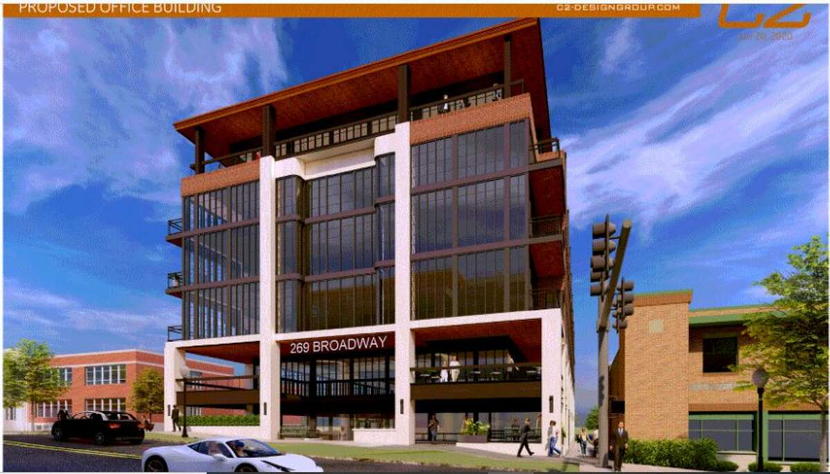 A drawing of a six-story building proposed for 269 Broadway, Saratoga Springs.