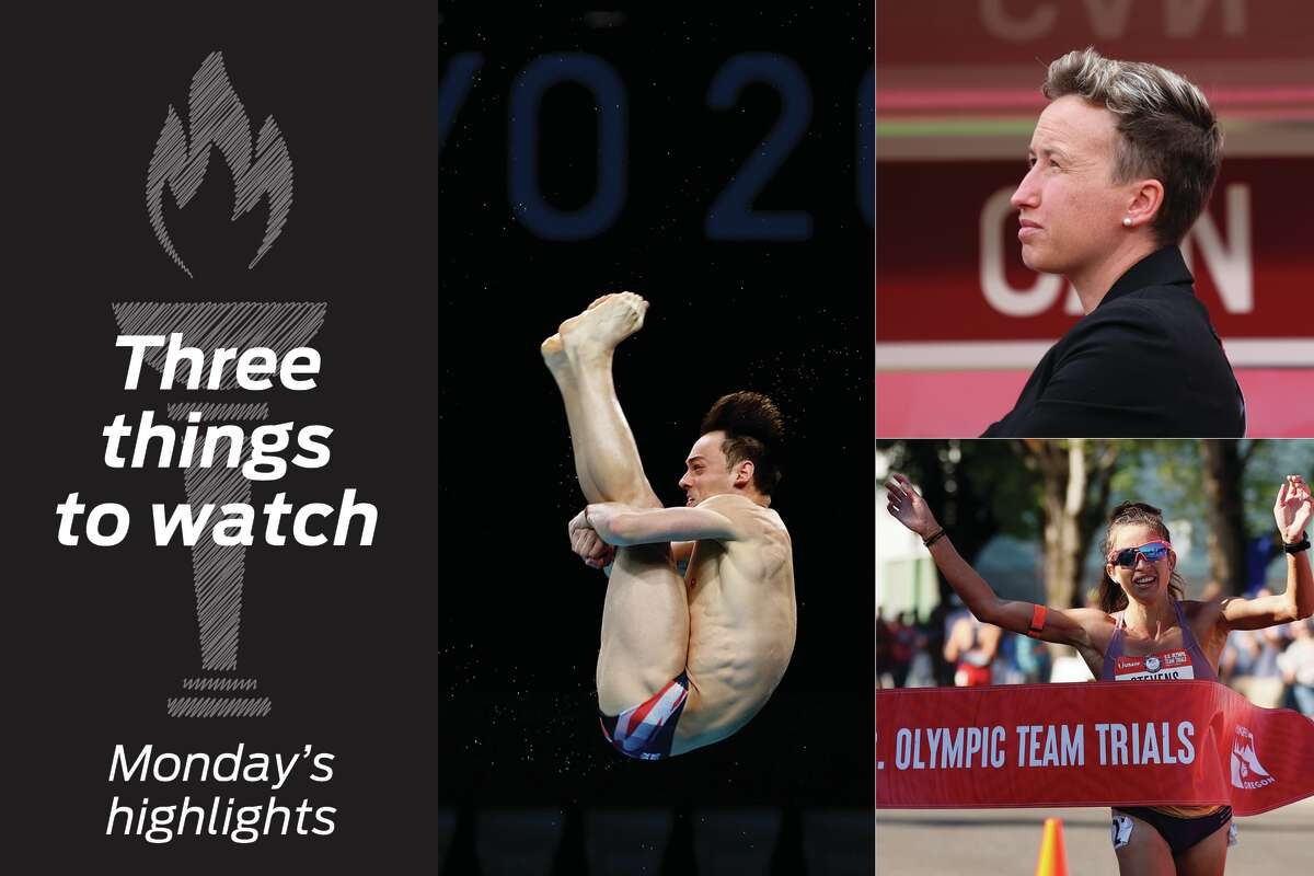 Clockwise from left: Tom Daley, Bev Priestman and Robyn Stevens highlight coverage.
