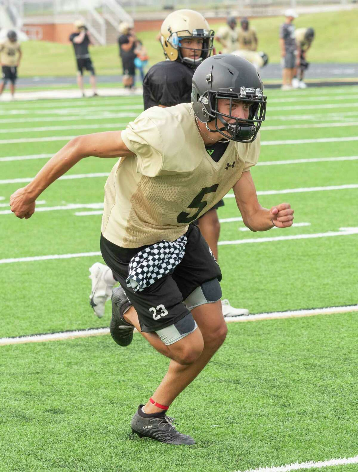 Andrews' EJ Lopez and other players run conditioning drills 08/05/2021 after practice at the Mustang Bowl. Tim Fischer/Reporter-Telegram