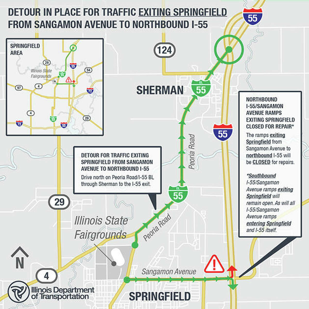 Traffic will become one-way on Peoria Road and Sangamon Avenue from the fairgrounds to Interstate 55 beginning Aug. 12. East- and westbound turn lanes at Veterans Parkway and Eighth Street will be closed.