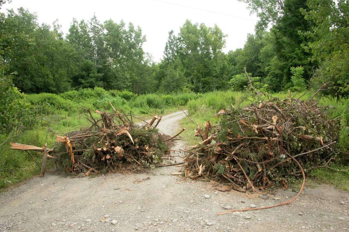 Road leading into the sand pit near former White Oaks Camp where a party was held July 30 and a brawl broke out on Thursday, Aug. 5, 2021 in Nassau, N.Y. The property owner placed the brush to block people from going on his property but people moved it.