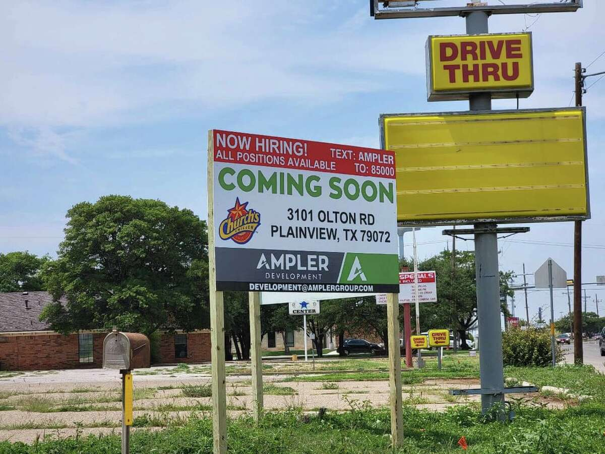 A Church's Chicken sign was spotted Wednesday at 3301 Olton Road.