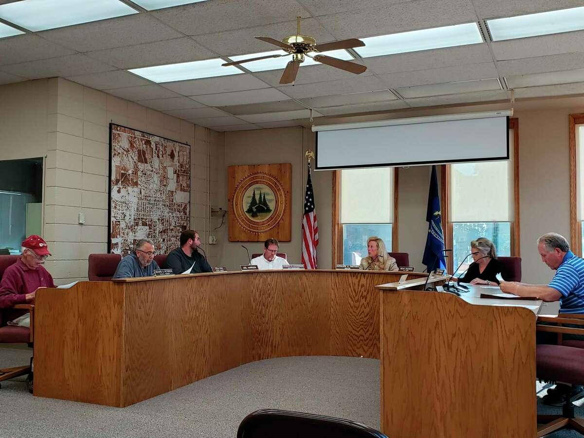 The Bad Axe City Council before their meeting this week, where they talked about the possibility of making the removal of the city siren a ballot issue in the future. (Robert Creenan/Huron Daily Tribune)