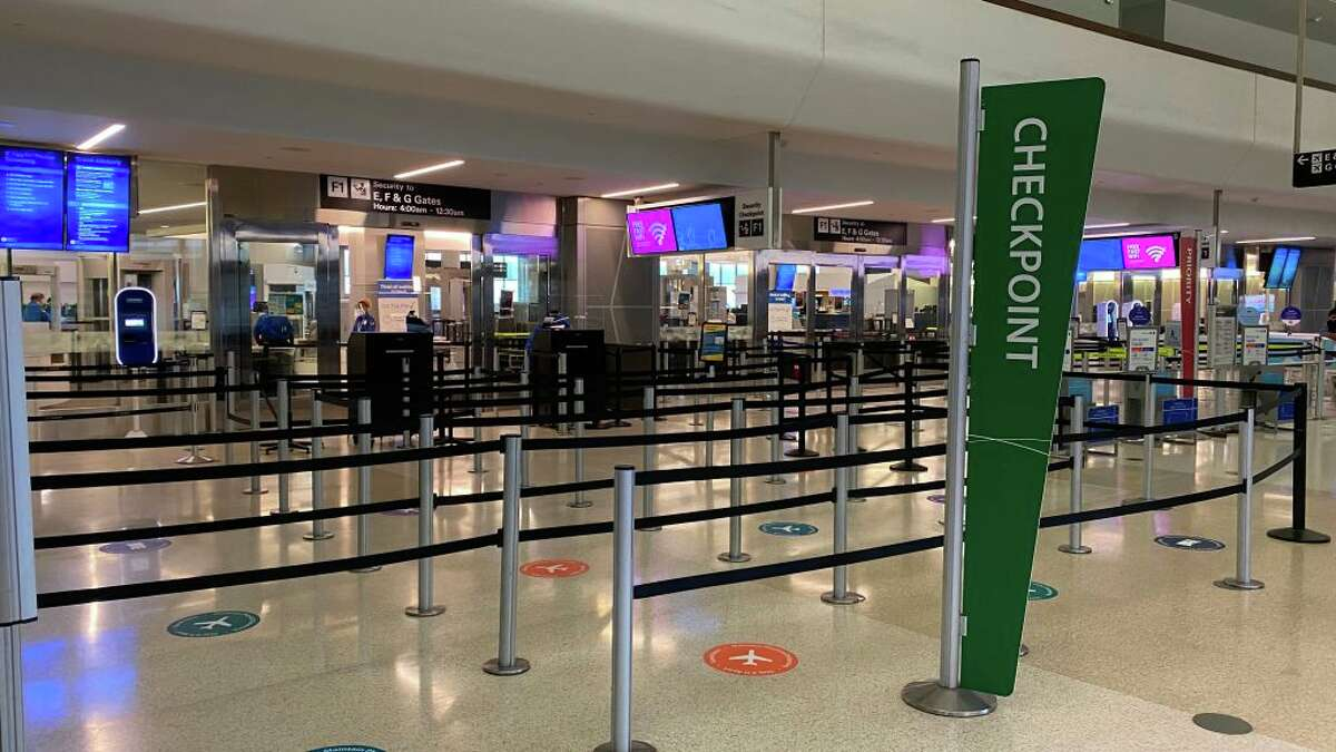 The TSA check-in area at San Francisco International Airport in San Francisco, California on August 2, 2020.