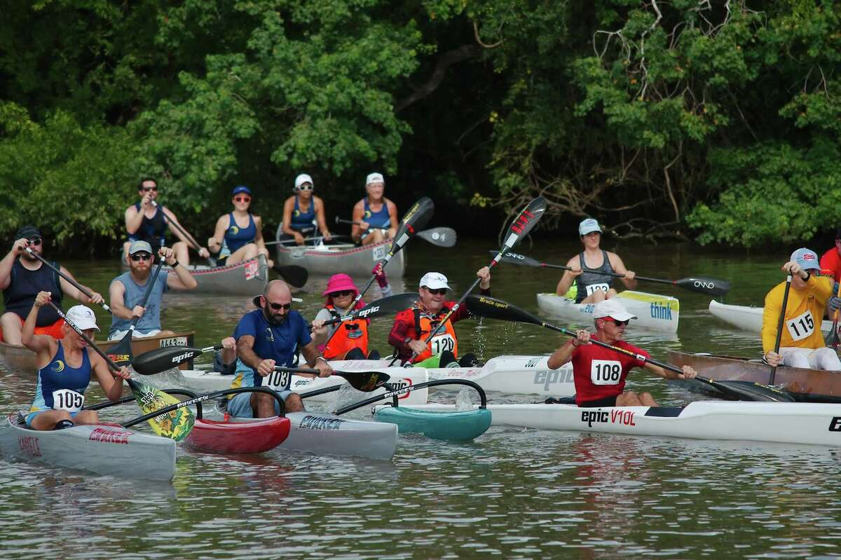 Participants rely on a variety of paddle-powered watercraft during the Clear Creek Paddle Race.