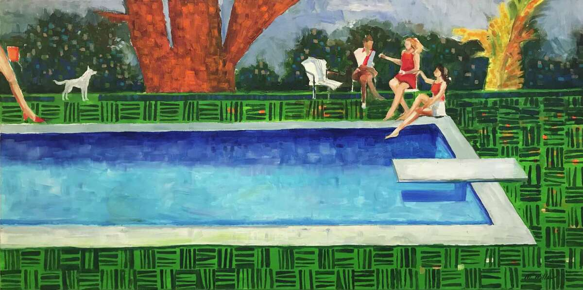 Houston painter Margaret Miller's Pool Party, part of her Broken Landscapes exhibition at Archway Gallery