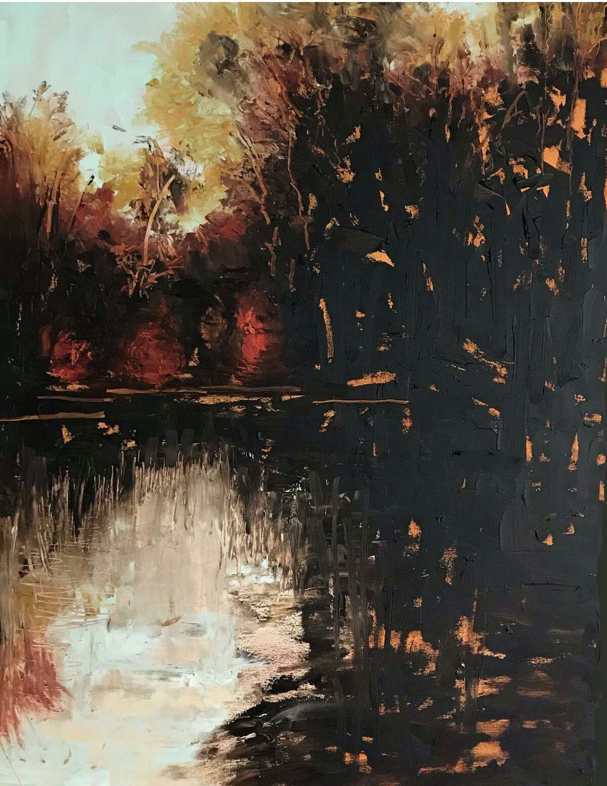 Houston painter Margaret Miller's Fall Reflections, part of her Broken Landscapes exhibition at Archway Gallery