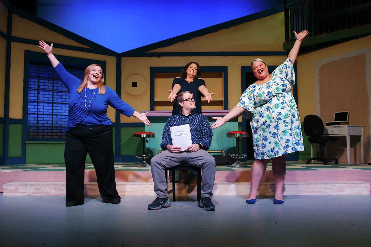 """Jana Ellsworth, left, David Eck, Jennifer Young and Christina Wells rehearse a scene from """"Women of a Certain Age: The Musical,"""" which will be presented by Art Park Players. Shows will be at 8 p.m. Aug 20, 21, 27, 28 and at 2 p.m. Aug. 22 and 29 at the Theatre/Courts Building, 1302 Center St. in Deer Park. Tickets are $20 and can be purchased at 281-794-2448"""