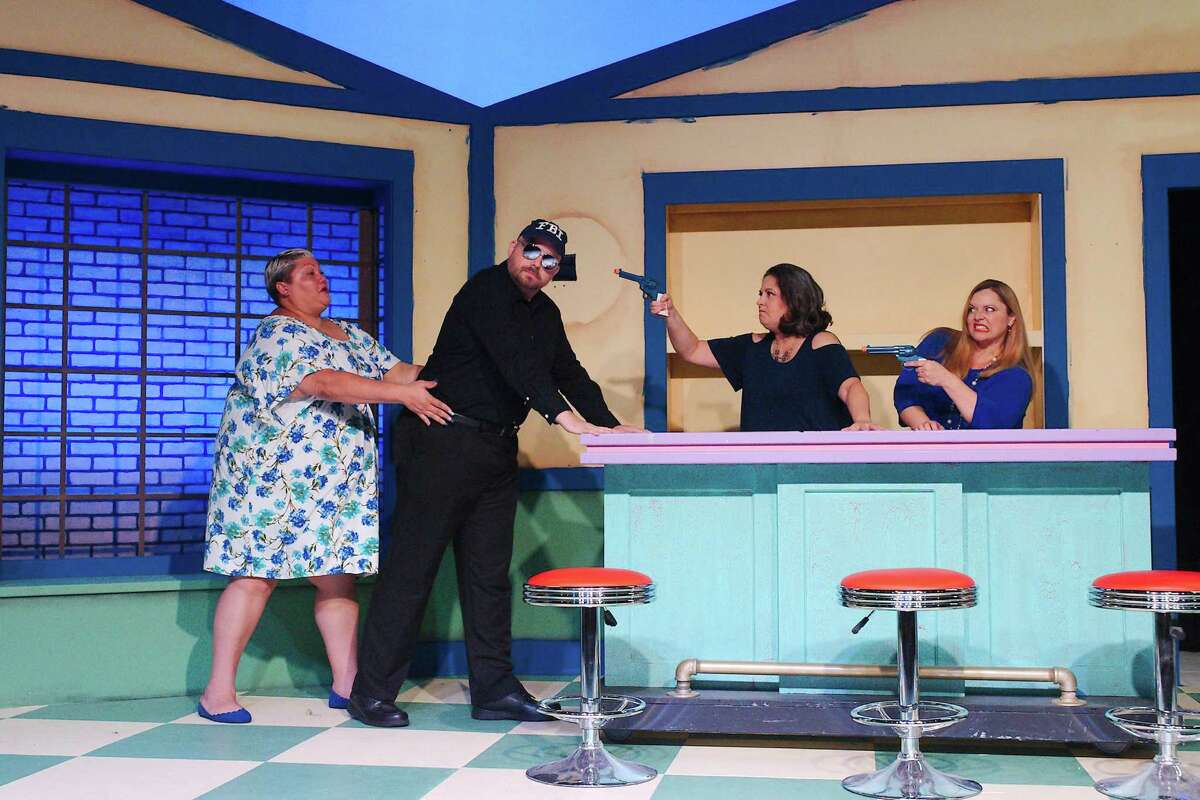 """Christina Wells, Brandon Tanner, Jennifer Young and Jana Ellsworth rehearse a scene from """"Women of a Certain Age: The Musical."""" The show will be performed Aug. 20-22 and 27-29 in Deer Park by Art Park Players as a work-in-progress."""