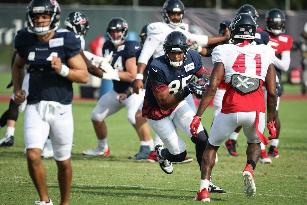 Houston Texans tight end Pharaoh Brown (85) turns upfield after making a catch during an NFL training camp football practice Thursday, Aug. 5, 2021, in Houston.