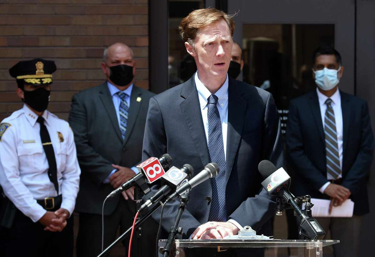 New Haven Mayor Justin Elicker speaks at a press conference announcing a proposed new city department, the Department of Community Resilience, outside of City Hall in New Haven on August 2, 2021.