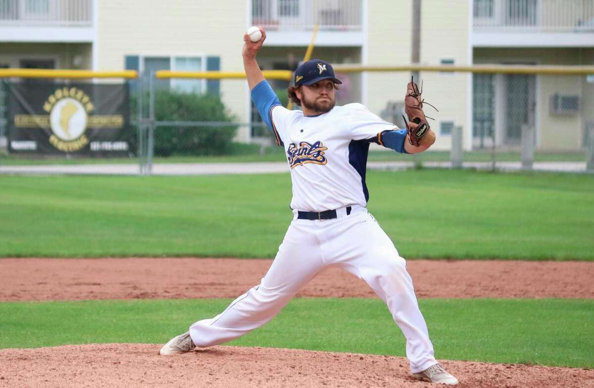 In this file photo, Manistee Saints pitcher Kyle Gorski fires a pitch during a regular season game at Rietz Park in Manistee. Gorski pitched the Saints to a 6-4 win over the North Jersey Sox to open the National Amateur Baseball Federation World Series tournament in Battle Creek on Thursday. (File photo)