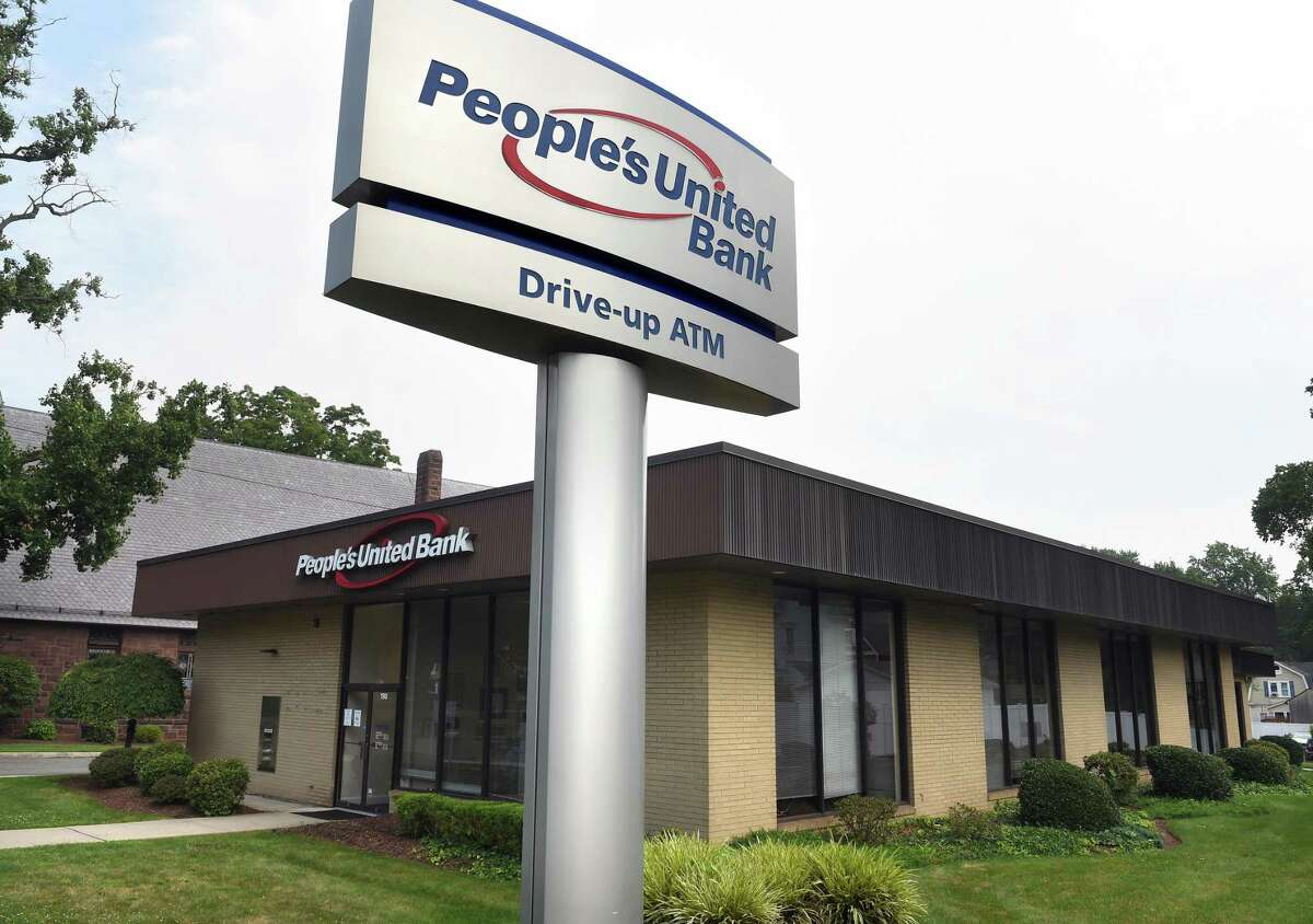 People's United Bank on South Broad Steet in Milford photographed on July 26, 2021.