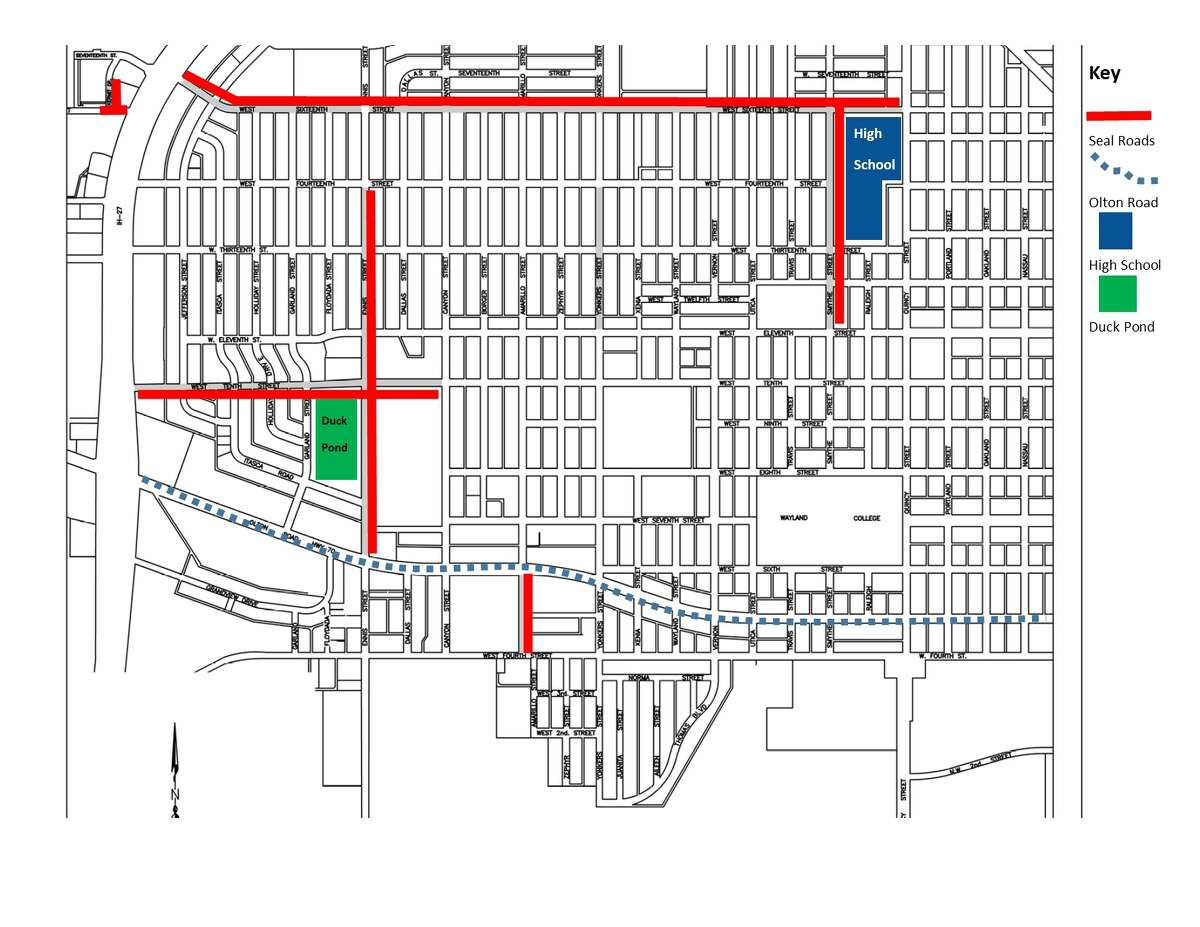Three areas of Plainview will receive sealcoating work next week.