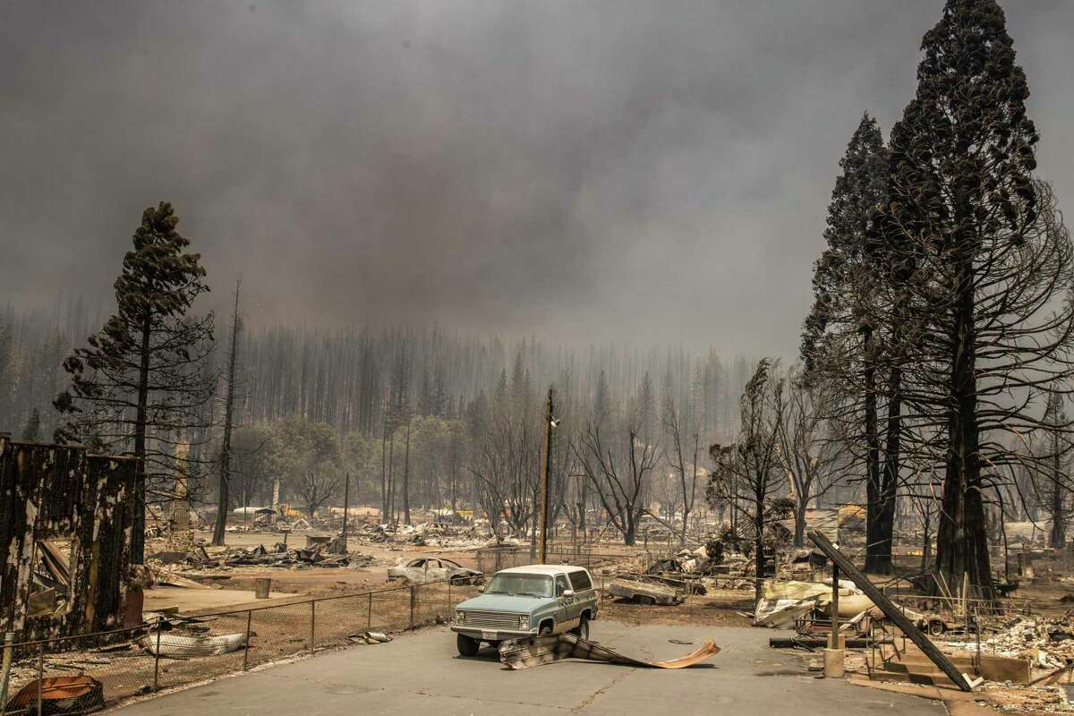 A general view of the town of Greenville destroyed by the Dixie Fire is seen in Greenville, California Thursday, Aug. 5, 2021.