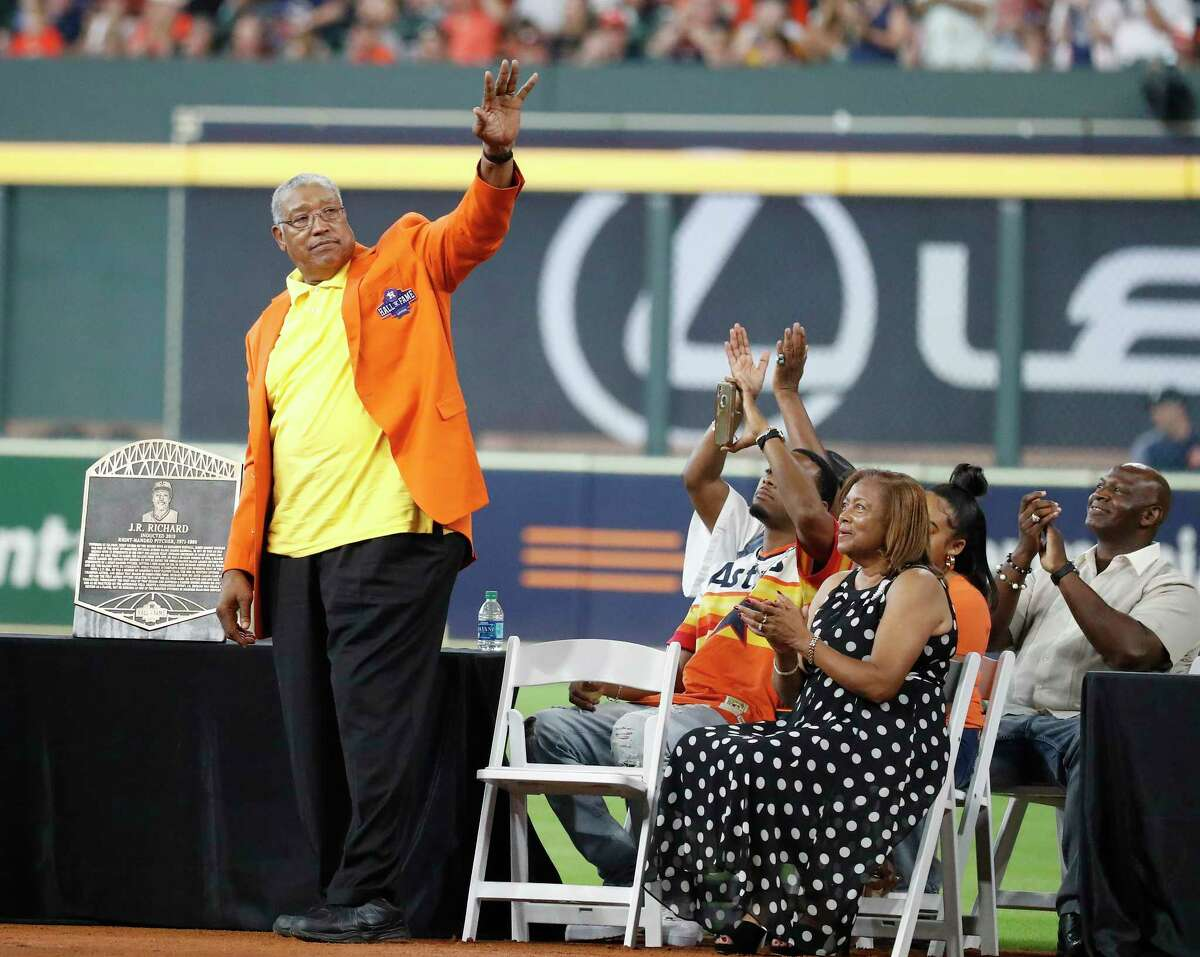 J.R. Richard during the Houston Astros inaugural Hall of Fame induction ceremony before the start of an MLB game at Minute Maid Park, Sunday, August 3, 2019.