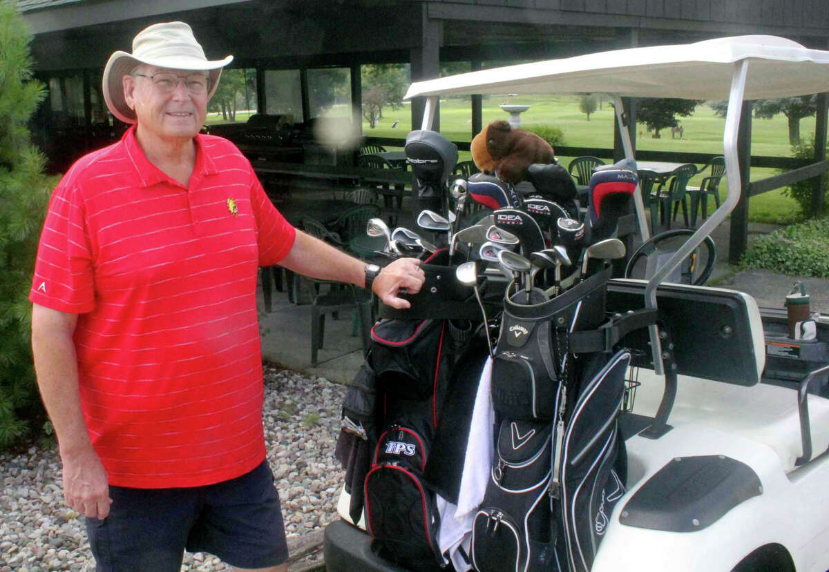 Mike Maskill gets ready to play a round of Masters League Golf on Monday at Spring Valley Golf Course.
