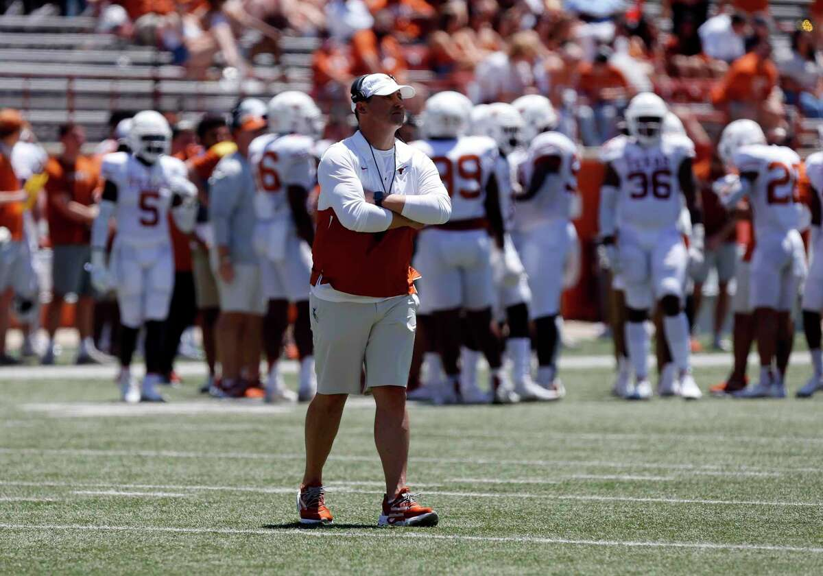 AUSTIN, TX - APRIL 24: University of Texas Long Horns head coach Steve Sarkisian walks on to the field during the spring football game on April 24, 2021, at Darrell K Royal - Texas Memorial Stadium in Austin, TX. (Photo by Adam Davis/Icon Sportswire via Getty Images)