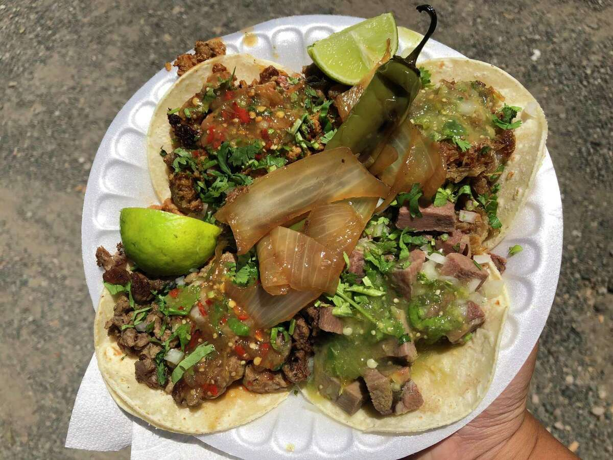 A plateful of tacos from Los Plebes, a truck in Geyserville, Calif.