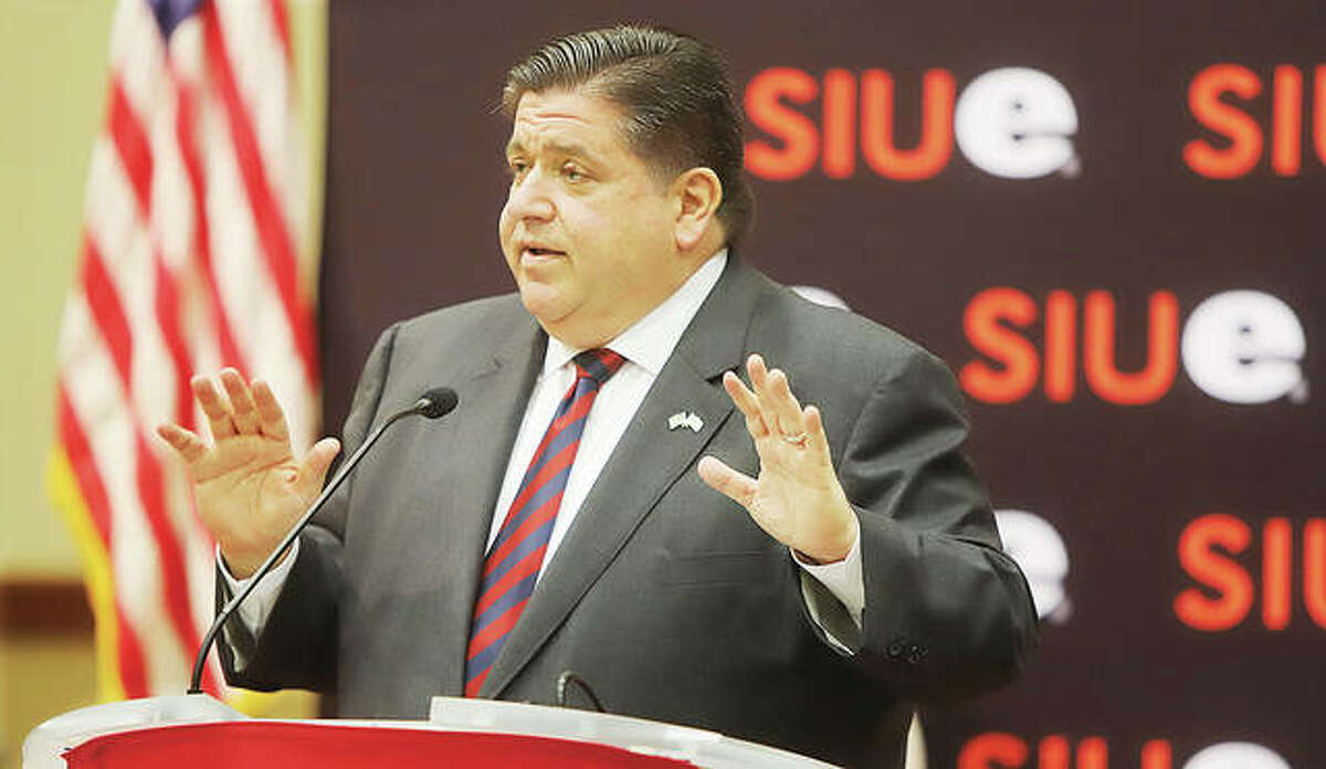 Illinois Gov. J.B. Pritzker talks Thursday at SIU Edwardsville during a stop to sign new legislation that removes financial barriers to feminine hygiene products for women and girls.