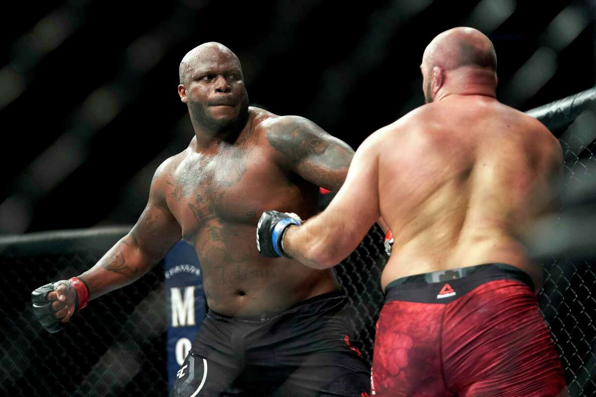 Derrick Lewis, fighting Ilir Latifi of Sweden in 2020, squares off against Ciryl Gane (9-0) for the UFC's heavyweight interim title Saturday night at Toyota Center.