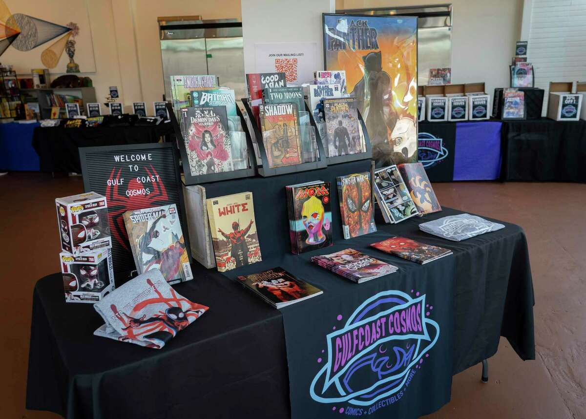 Featured comics and graphic novels greet visitors at the pop-up location of Gulfcoast Cosmos comic shop at the corner of Emancipation Boulevard and Elgin Street on Saturday, July 24, 2021, in Houston.