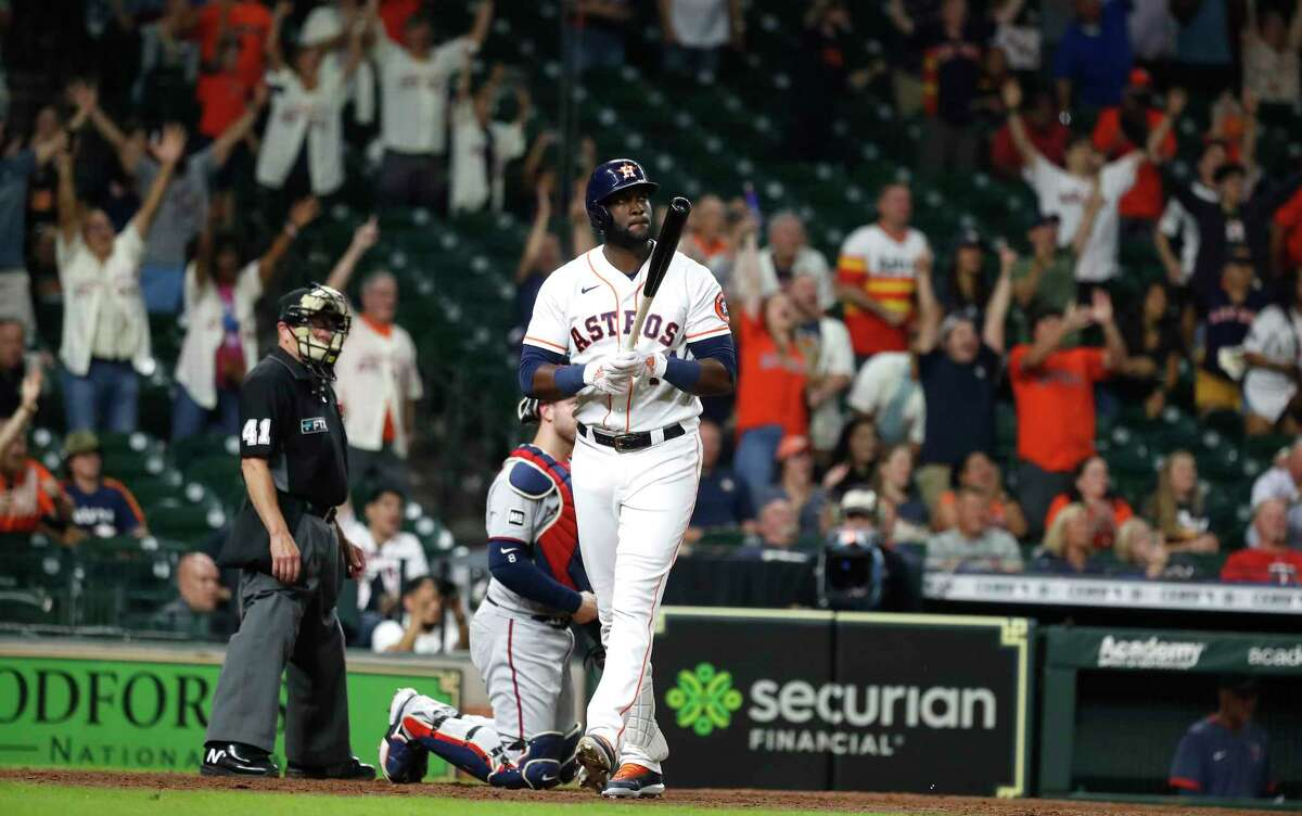 Houston Astros Yordan Alvarez (44) hits a two-run home run off of Minnesota Twins relief pitcher Danny Coulombe during the ninth inning of an MLB baseball game at Minute Maid Park, Thursday, August 5, 2021, in Houston.
