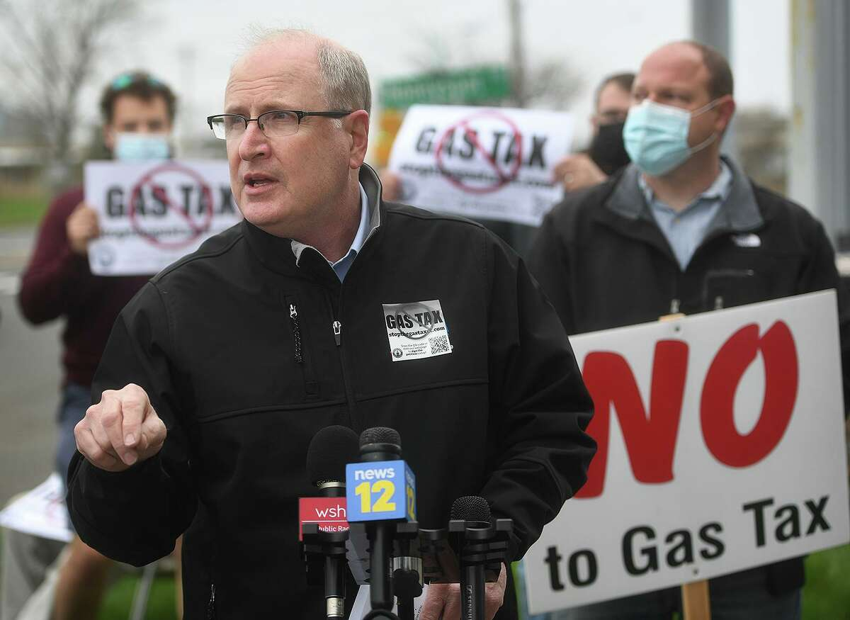 State Senate Republican Leader Kevin Kelly speaks at a Stop the Gas Tax/Food Tax rally in Stratford on April 29.