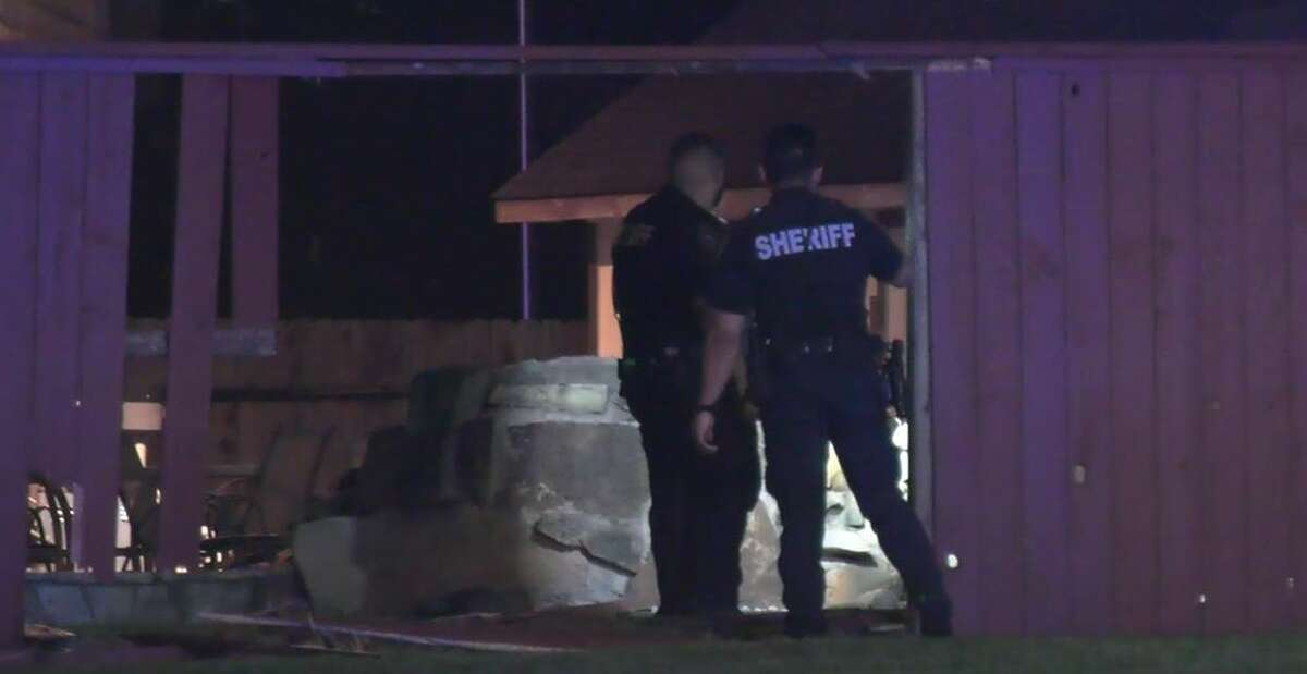 A driver crashed early Friday into a backyard pool in north Harris County while fleeing from sheriff's deputies.