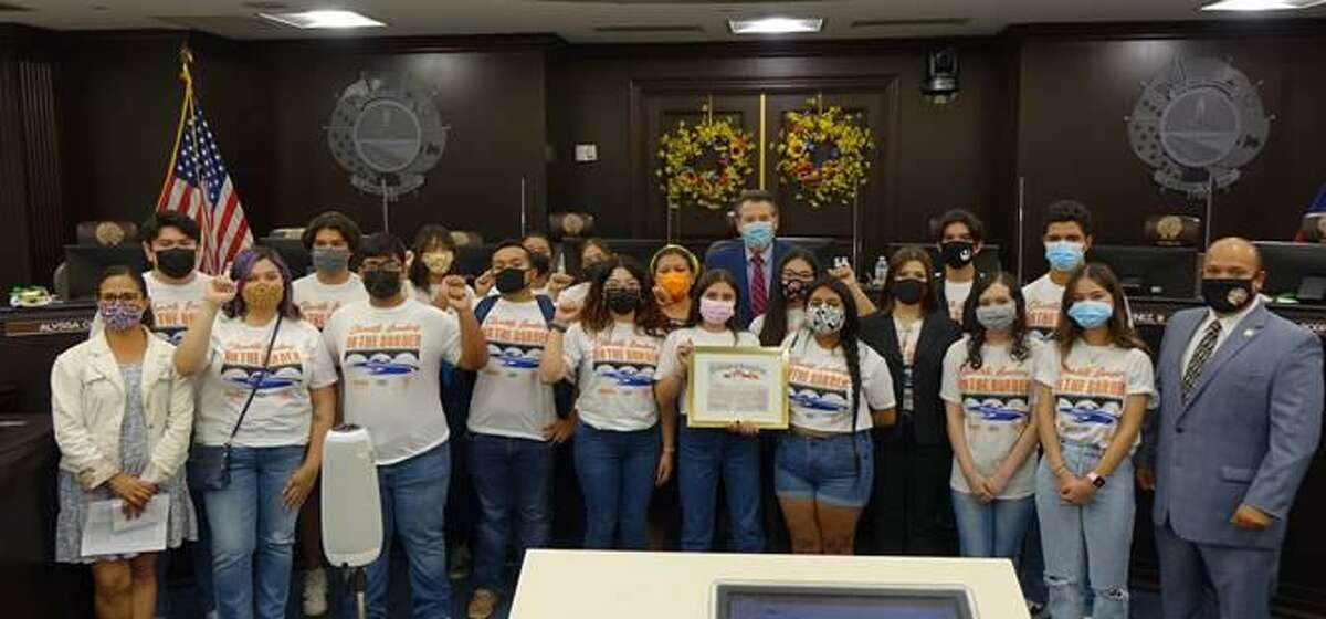 City of Laredo Mayor Pete Saenz and District V Councilmember Ruben Gutierrez Jr. pictured with RGISC Executive Director Tricia Cortez and members of the Climate Camp.