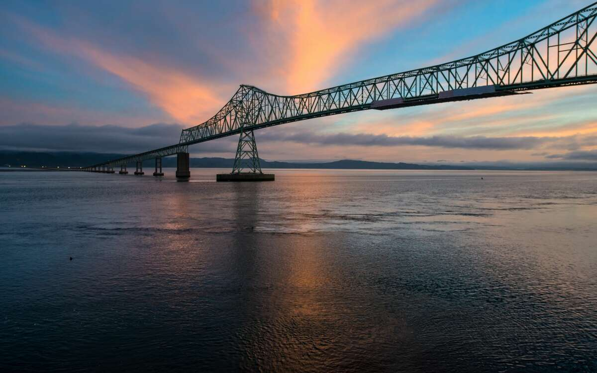 The Astoria-Megler bridge spans the Columbia River at this historic site where Lewis & Clark arrived at the Pacific Ocean.