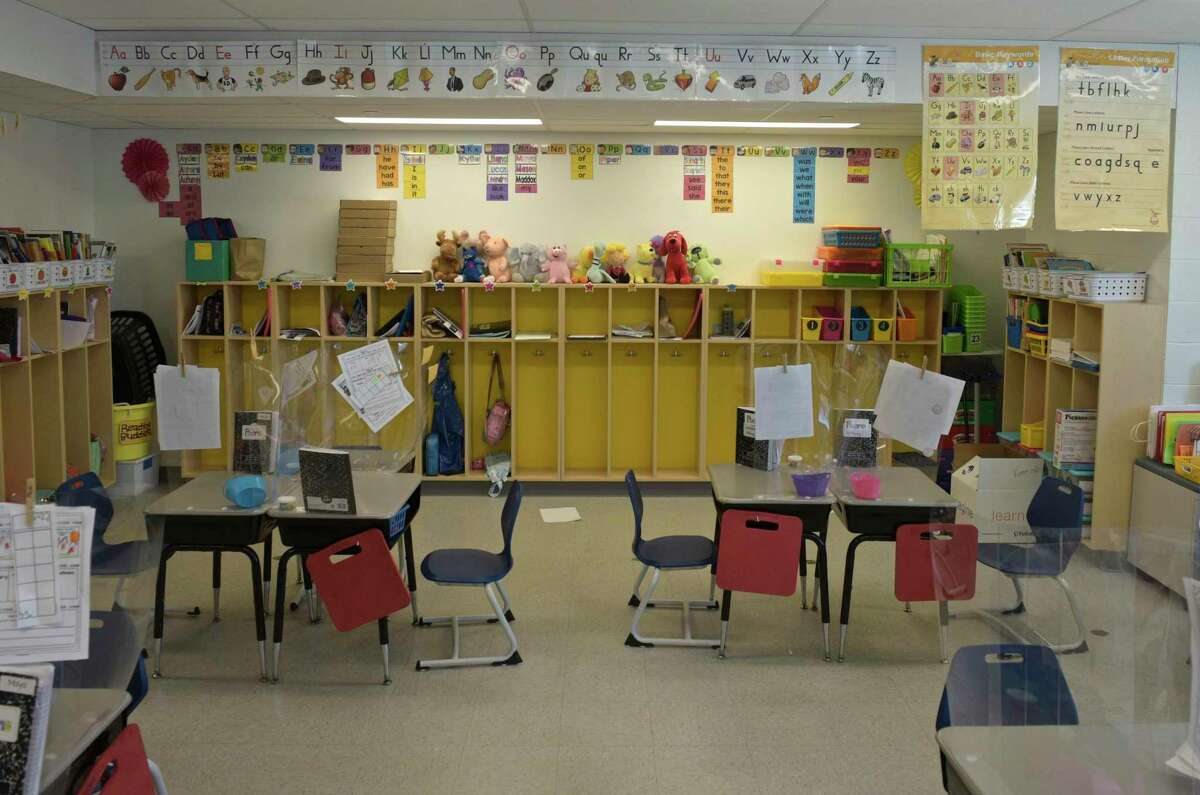 A classroom gets ready this past summer to welcome students to the new school year.
