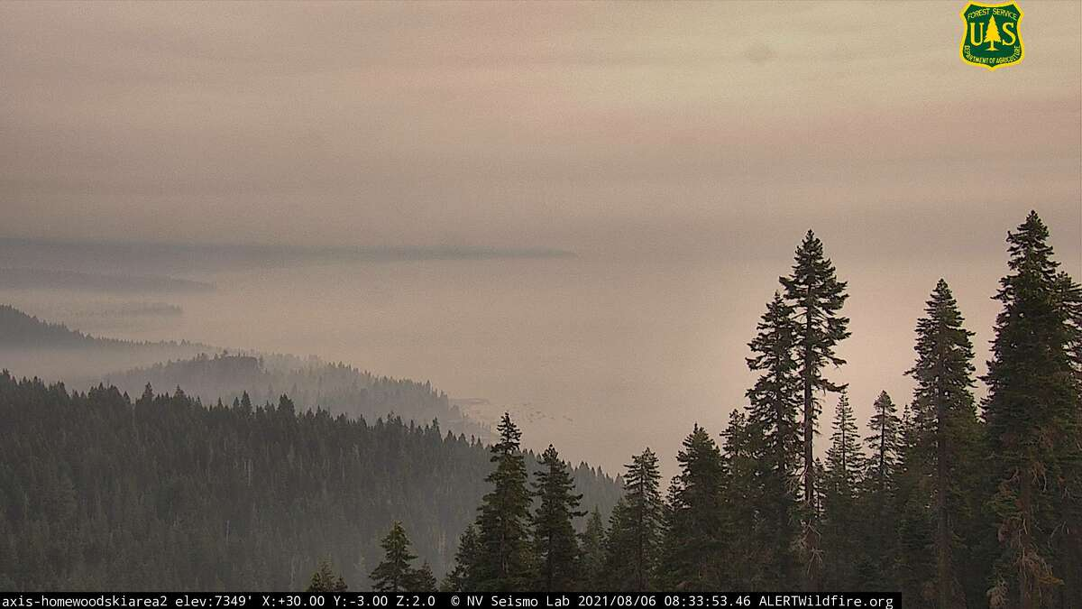 Smoke from wildfires in northern California impacted air quality in the Lake Tahoe Basin on Friday, August 6, 2021.