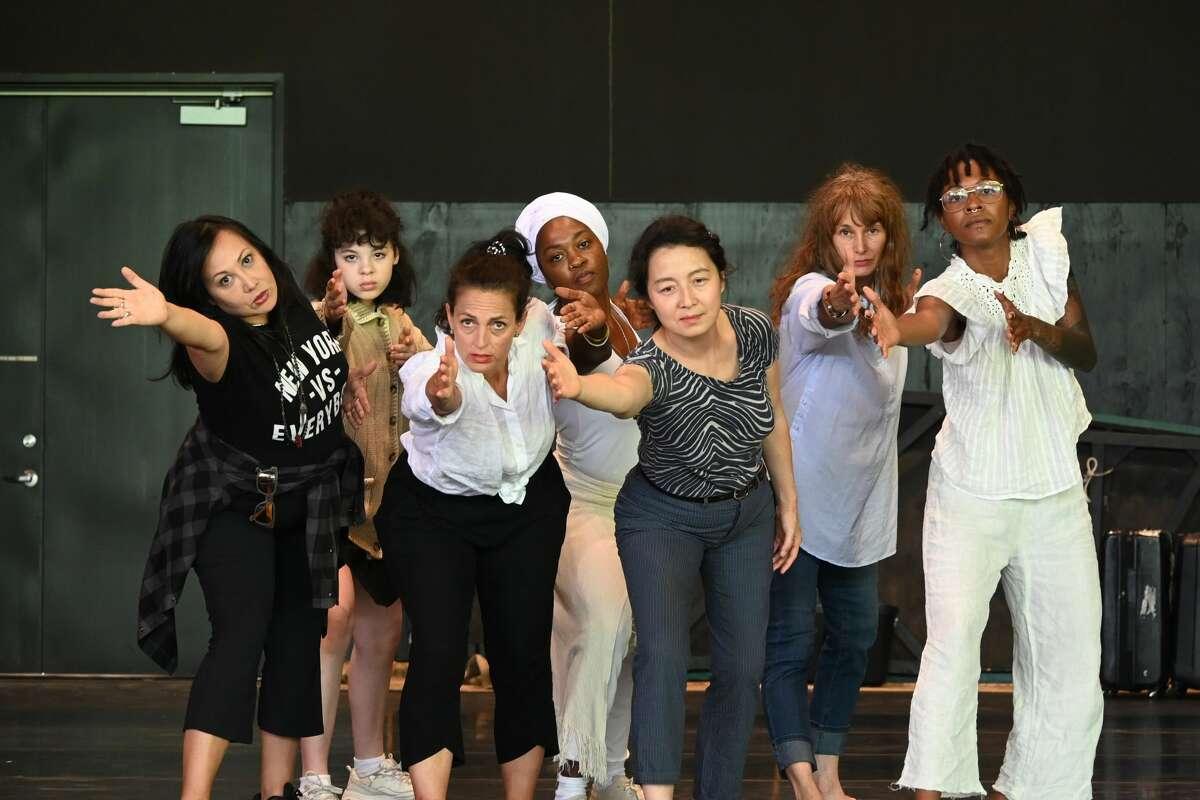 """The cast of """"SHE/HER"""" (from left): Kate Rigg, Liza Loube, Nicole Ansari, Antoinette Cooper, Yibin li, Michelle Joyner, Nova Scott James. (credit: Elke Rosthal)"""
