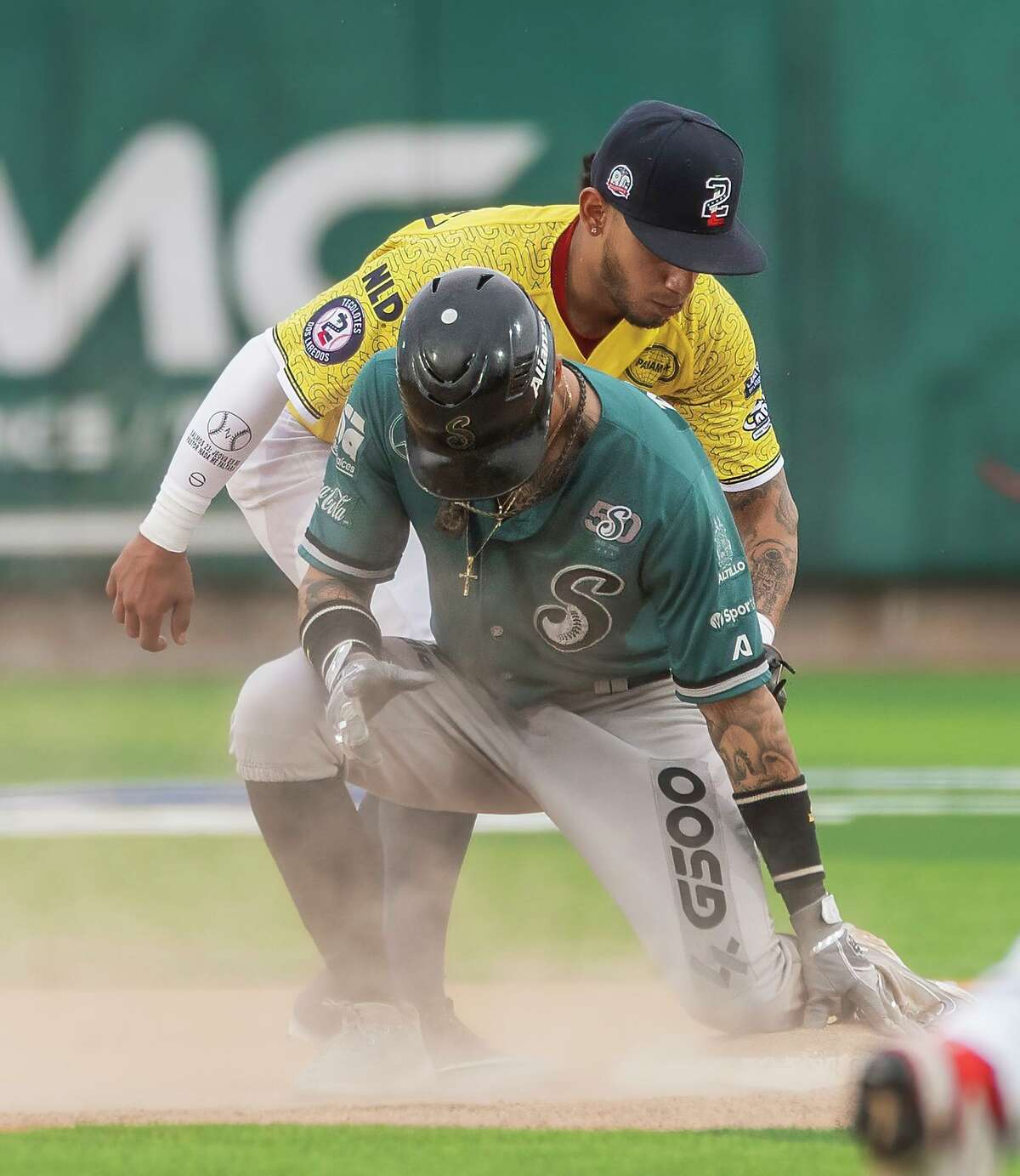 Tecolotes Dos Laredos Luis Diego Rodriguez goes for the out at second base during a game against Saraperos de Saltillo, Thursday, Aug. 5, 2021 at Uni-Trade Stadium.