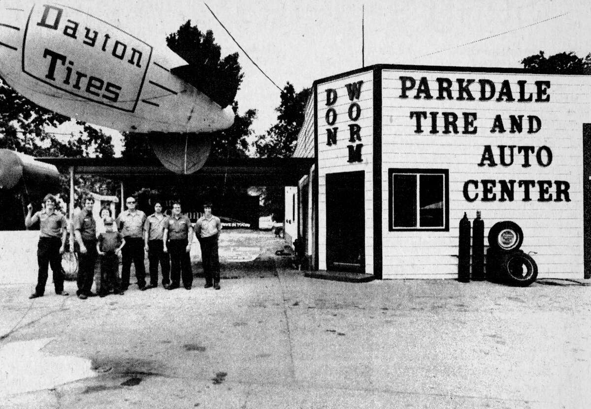 The newly remodeled Parkdale Tire and Auto Center on Parkdale Avenue, celebrates their grand opening as a complete auto repair center this week through Sunday. The center features Dayton and Michelin tires and has certified mechanics on duty to handle auto repairs. The photo was published in the News Advocate on Aug. 7, 1981. (Manistee County Historical Museum photo)