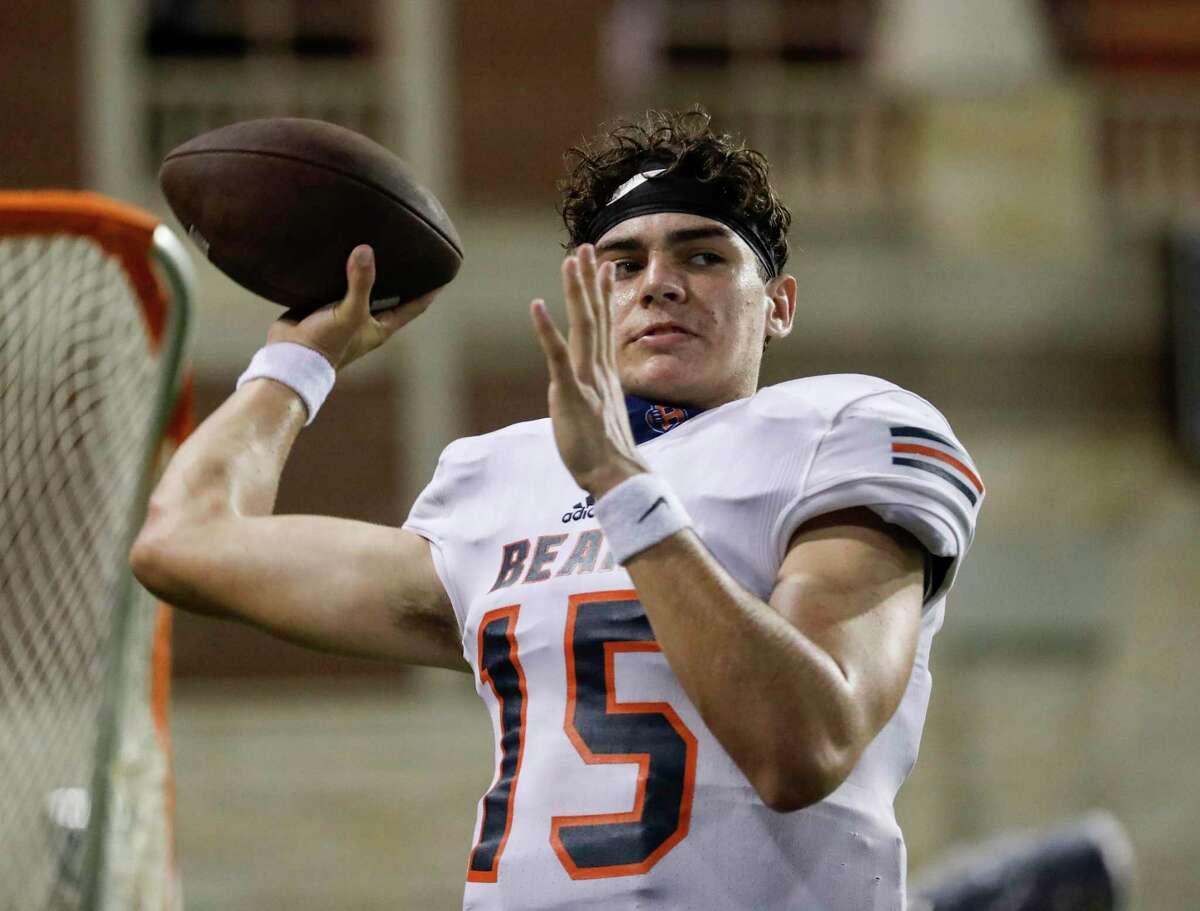 Bridgeland Bears quarterback Conner Weigman (15) was named to the Touchdown Club of Houston 2021 UIL High School Preseason Football Team.