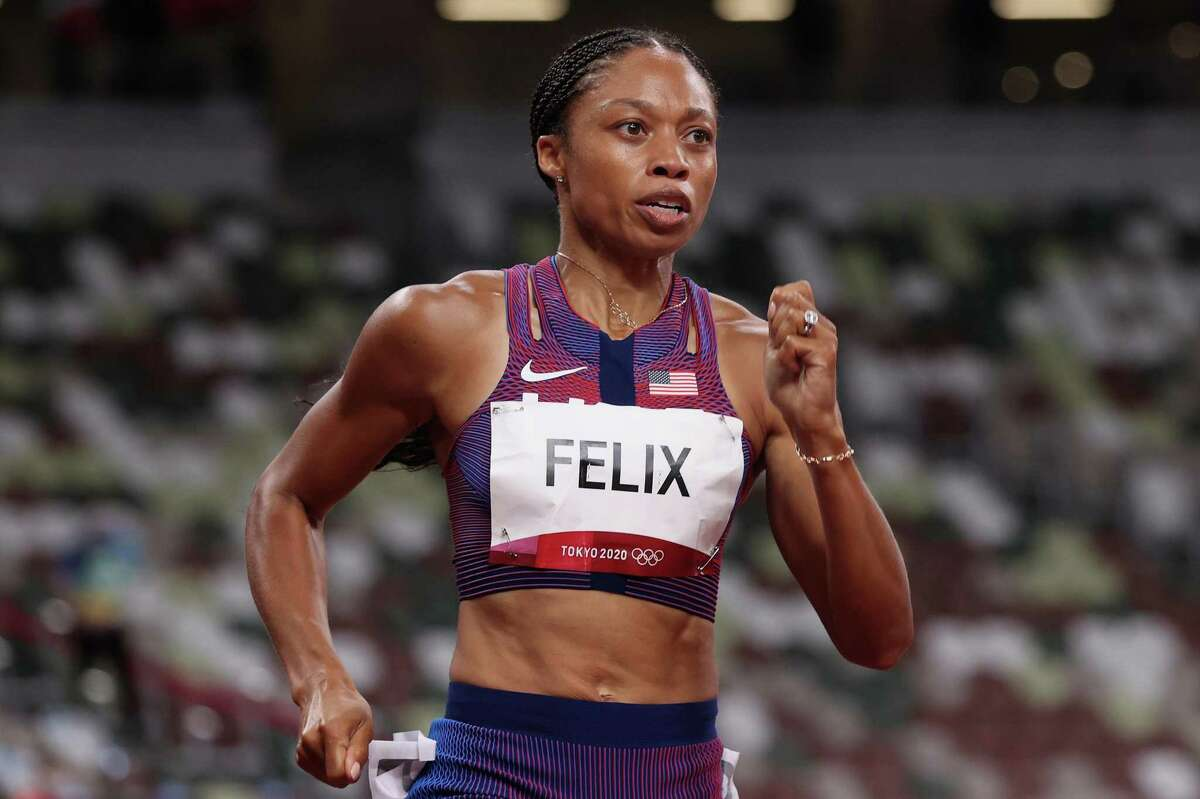 TOKYO, JAPAN - AUGUST 06: Allyson Felix of Team USA competes in the Women's 400 metres final on day fourteen of the Tokyo 2020 Olympic Games at Olympic Stadium on August 06, 2021 in Tokyo, Japan. (Photo by Christian Petersen/Getty Images)