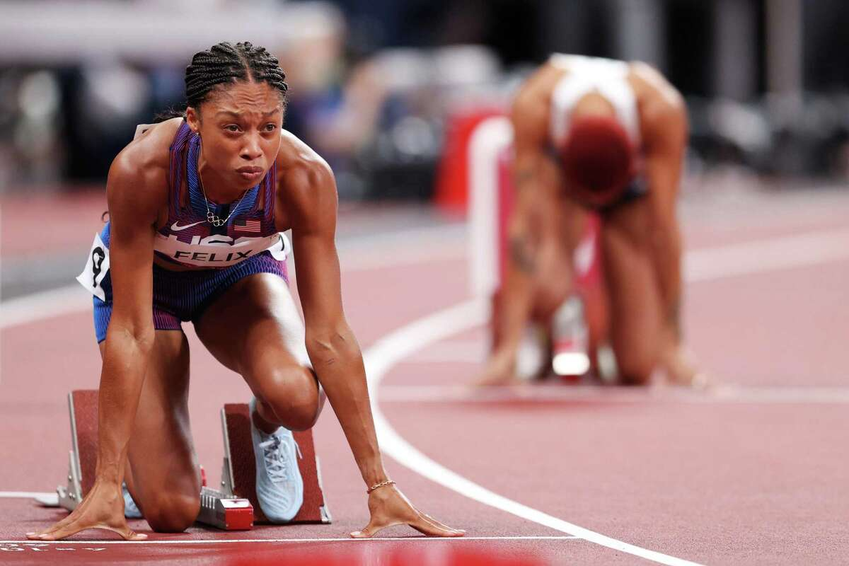 TOKYO, JAPAN - AUGUST 06: Allyson Felix of Team USA prepares to compete in the Women's 400m on day fourteen of the Tokyo 2020 Olympic Games at Olympic Stadium on August 06, 2021 in Tokyo, Japan. (Photo by Patrick Smith/Getty Images)