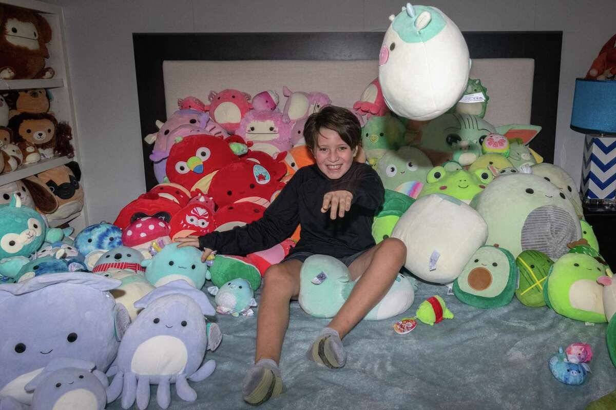 Squishmallows were introduced in 2017 with the first eight characters available only at Walgreens. Today, there are now more than 1,000, and to date, more than 86 million have been sold. Nico Peralta, 9, has been collecting the plush toys since February.