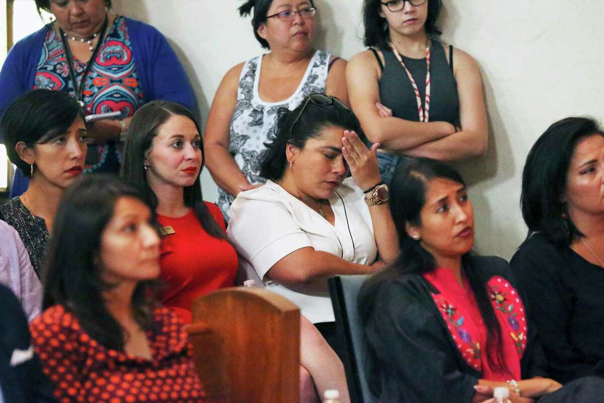 Rebecca Viagran, who was a city councilwoman at the time, shows her anguish during the 2019 domestic violence town hall hosted by U.S. Reps. Lloyd Doggett and Joaquin Castro.