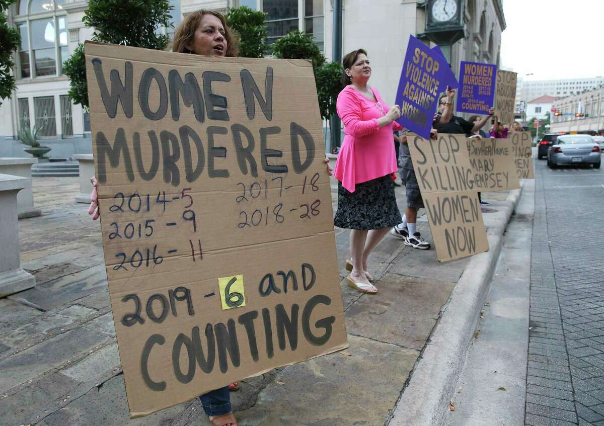 San Antonians rally in 2019 to raise awareness about the prevalence of domestic violence here. Ending domestic violence requires a community-wide public health approach.