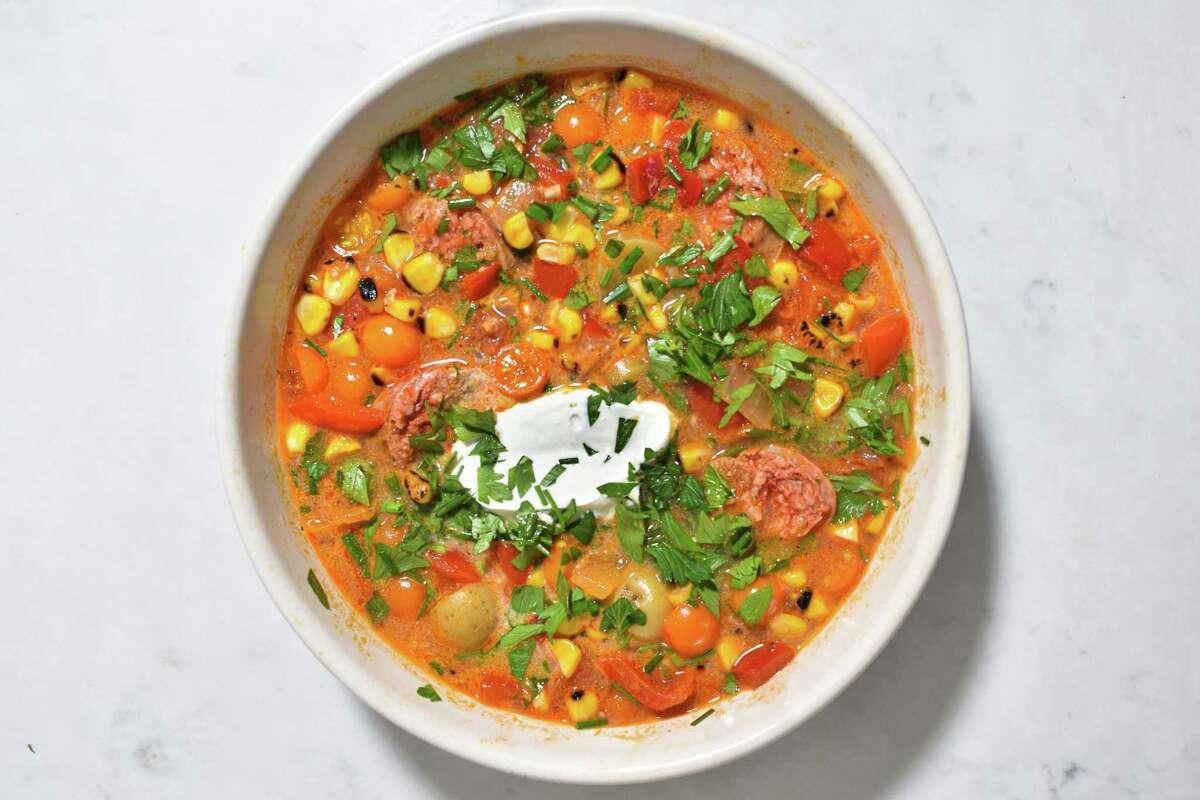 Charred Corn and Chorizo Soup by Bounty columnist Christian Reynoso.