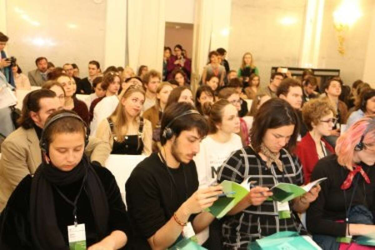 """A 25-year academic exchange program between Bard College in the Hudson Valley and Smolny College in Russia was abruptly halted after Russia placed Bard on its """"undesirable"""" list. Each year, around 550 students participate in the joint academic program. Pictured above are Russian students at the Smolny Student Conference in 2018."""