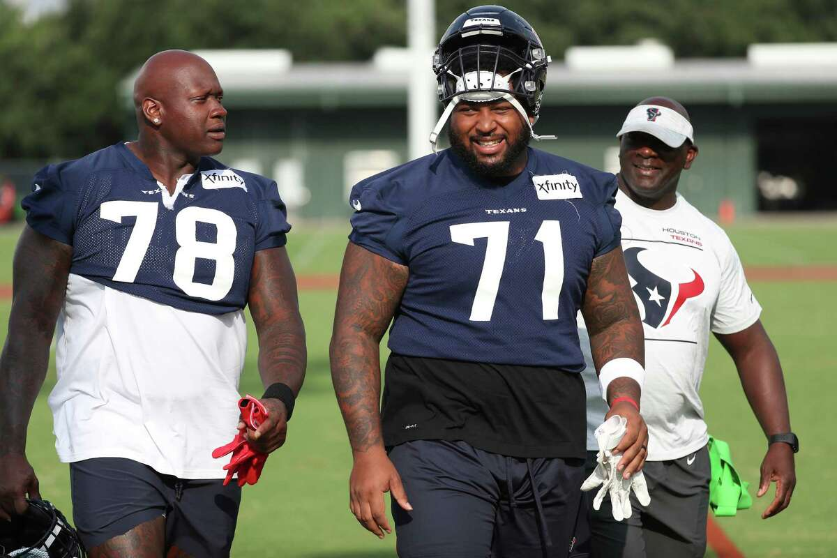 Laremy Tunsil (78) and Tytus Howard, last year's starting tackles for the Texans, are on the reserve/COVID-19 list.