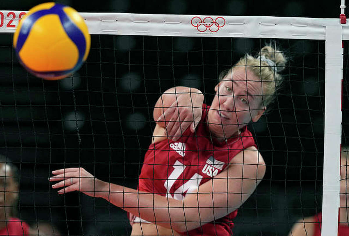 Michelle Bartsch-Hackley of the United States in action during an Olympic women's volleyball preliminary round match Monday against Italy at the 2020 Summer Olympics in Tokyo. She is a 2008 graduate of Collinsville High School and later played at the University of Illinois.